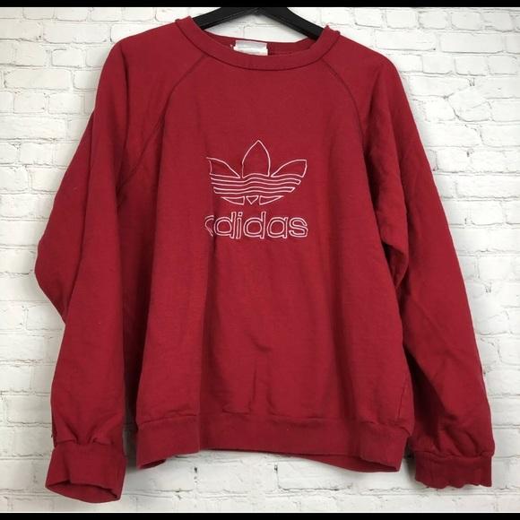 Vintage 90's Adidas Trefoil Red Crewneck Sweater